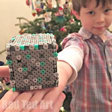 minecraft crafts perler bead moneybox red ted art s blog how to make a perler bead box pattern perfect for minecraft fans make some