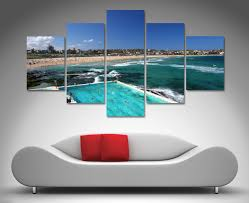 table surprising beach canvas wall art 17 bondi icebergs 5 panel beach canvas wall art nature