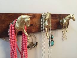 Horse Coat Rack Gold Horse Jewelry And Key Rack Hanger On Wooden Backdrop Jewelry 43