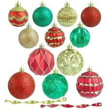 Red, Green and Gold Shatterproof Christmas Ornament ...