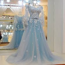 light blue wedding dresses lace wedding gowns elegant prom dress