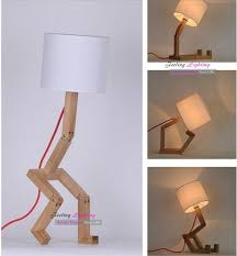 diy bedroom lampshade table lamp design original wood white fabric table lamps modern robot desk