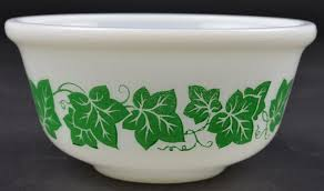 hazel atlas mixing bowl green ivy pattern 6 wide