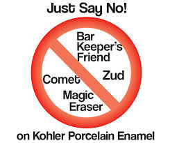 do not use comet zud bar keepers friend magic eraser on porcelain enamel