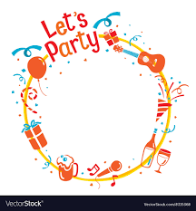 party letter icons on circle frame vector image