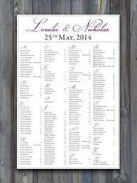 Seating Chart In Alphabetical Order Printable Wedding Seating Chart Purple Plum Eggplant