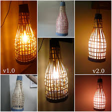 picture of handmade bamboo lantern using old bamboo blinds