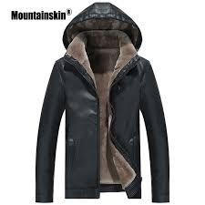 Mountainskin <b>2019</b> Winter <b>Men's</b> Leather <b>Jacket</b> Warm Thick <b>PU</b> ...