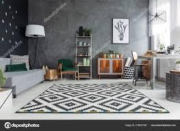 Donker Grijs Woonkamer Interieur Met Textuur Muur Patroon Tapijt