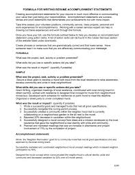 accomplishments for a resume getessay biz formula for writing resume accomplishment statememts by ypy11747 accomplishments for a