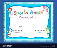 Template Swimming Award Certificate Template