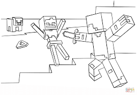 Minecraft Steve Vs Skeleton Coloring Page Free Printable Coloring