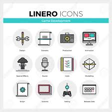 Line Icons Set Of Video Game Development Making Process Modern