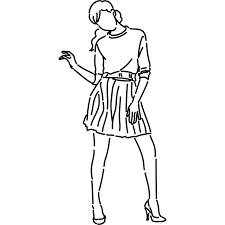 シンプルイラスト ポージングをする女性線画 無料イラスト