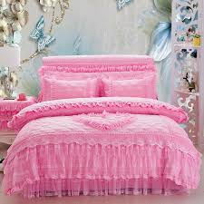 4 pink princess bedding set king queen size girls lace wedding bed cover set duvet cover bed skirt pillowshams gift king comforter blue duvet cover from