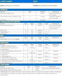 Workout Program Templates Personal Exercise Programme Template