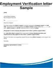 Sample Employment Verification Letter Employment