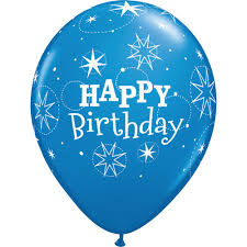 Happy Birthday Rubber Balloon Blue 2
