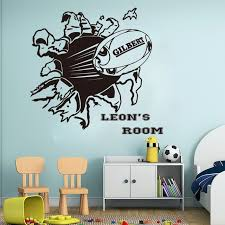 personalized name rugby wall sticker boy room nursery large football custom name sport ball wall decal