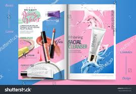 Design Makeup Products Vivid Cosmetic Brochure Design Skincare Makeup Stock Vector