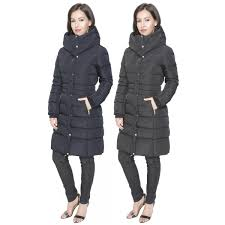 womens high quality long padded winter coat concealed hood inner fur collar jacket zip pockets