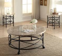 Round Marble Table Set Coffee Side And End Tables Nestor 3 Pc Round Marble Top Coffee