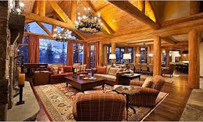 mansion log cabin living room with vaulted ceiling design area rugs on wooden floor log