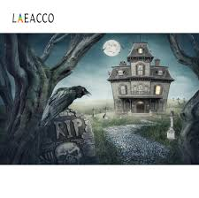 <b>Laeacco</b> Dark <b>Castle</b> Tomb Rip Bat <b>Moon</b> Halloween Party Old Tree ...