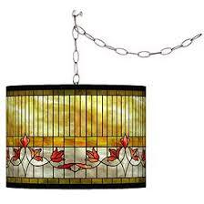 Image Retro Pendant Tiffanystyle Lily Giclee Glow Plugin Swag Pendant Lamps Plus Yellow Pendant Lighting Lamps Plus