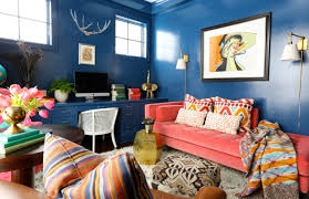 eclectic home office. Eclectic Shabby Chic Interior Living Room Blue Colorful Home Office