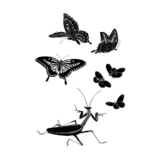 蝶蟷螂かまきりシルエット 和風デザイン和柄素材なら Wagara