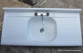 vintage porcelain enamel kitchen sink double drainboard cast iron