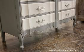 two tone painted furniture. Southern Revivals | French Provincial Chalk Painted Gray Dresser Redo Two Tone Furniture O
