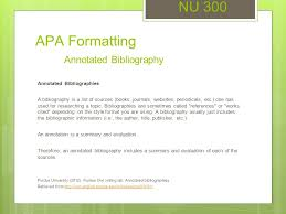 Apa Annotated Bibliography Example Heading For Annotated Bibliography Apa Welcome To The Purdue Owl