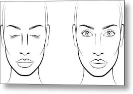 Blank Face Charts To Print Young Woman Face Chart Makeup Artist Blank Template Metal Print