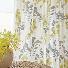 Wisteria Grey Yellow Floral Tape Top Curtains At Bedeck Gray And Leah  Shower Curtain In