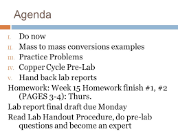 Copper Cycle Lab Report C 13 Dec Objective Swbat Peer Edit A Classmates Lab Report