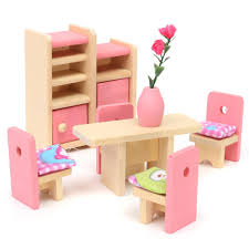 miniature house family children wooden furniture doll set kit toys accessoriesdining room by moonbeam