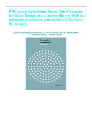 Dieter Rams Ten Principles For Good Design Book Pdf Download Ebook Dieter Rams Ten Principles For Good Design