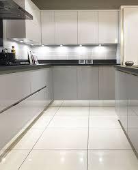 shiny kitchen floor tiles modern kitchen design gloss mackintosh kitchen in light grey and
