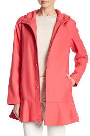 kate spade women s pink ruffle hem trench coat