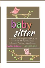 Babysitter Flyer Maker Babysitter Advertisement Zoro Braggs Co