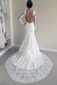long sleeve lace backless mermaid wedding dresses 2017 long