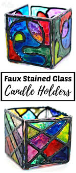 diy stained glass faux stained glass candle holders diy stained glass window paint