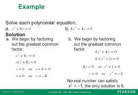 example solve each polynomial equation a b solution