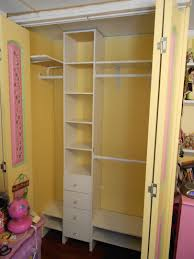 Kitchen Closet Shelving U Shape Cream Stained Wooden Closet Organizer With Shelves And