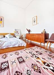 pink and white and wood bedroom