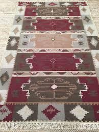 5x8 wool kilim hand woven flat weave tribal rug southwestern reversible new