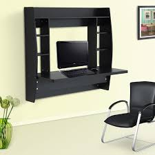 homcom floating wall mount office computer desk. HOMCOM Floating Wall Mount Office Computer Desk With Storage Black Brown White Homcom