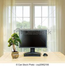 office bonsai tree. Small Bonsai Tree On Plain Office Desk With Monitor - Csp20952106